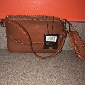 Handbags - FRYE Paige Cognac Leather Wristlet